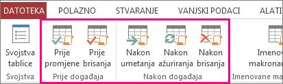 Dodavanje podatkovne makronaredbe potaknute događajem