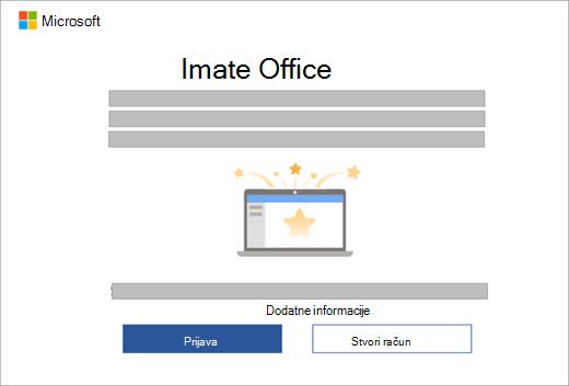 Prikazuje dijaloški okvir koji će se pojaviti kada otvorite aplikaciju sustava Office na novom uređaju koji sadrži licencu za Office.
