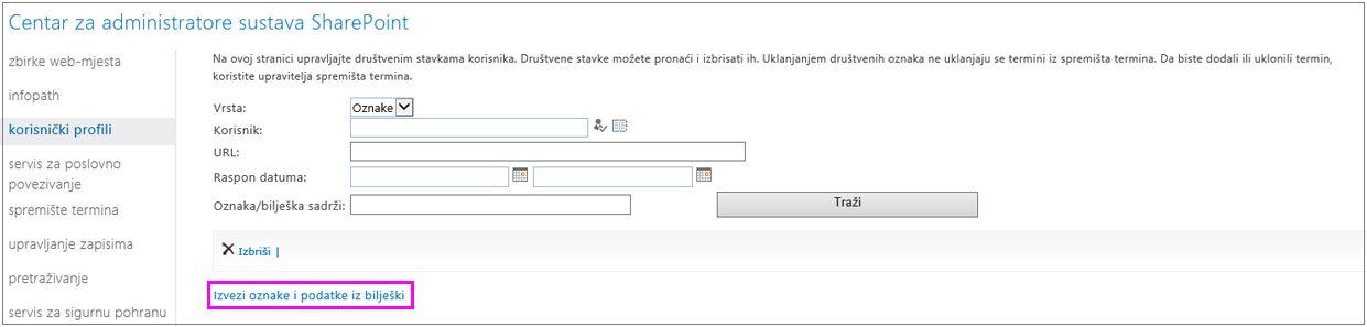 Snimka zaslona na kojoj je istaknuta veza na izvoz