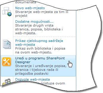 SharePoint Designer 2010 na izborniku Akcije web-mjesta