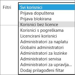 Odaberite nelicencirane korisnike s popisa Filtri.