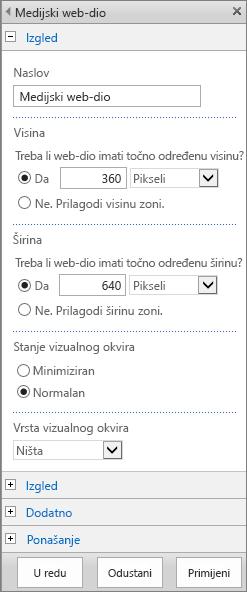Snimka zaslona koja prikazuje dijaloški okvir Medijski web-dio u sustavu SharePoint Online koji služi za određivanje postavki povezanih s izgledom, rasporedom, dodatnim postavkama i ponašanjem medijskih datoteka. Prikaz mogućnosti za izgled, uključujući naslov, visinu, širinu i stanje i vrstu vizualnog okvira.