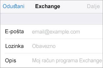 Prijava u sustavu Exchange