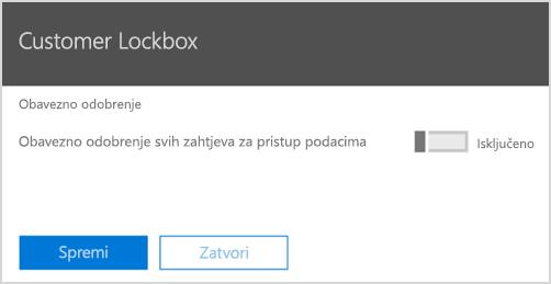 Potrebno je odobrenje za Lockbox klijenta