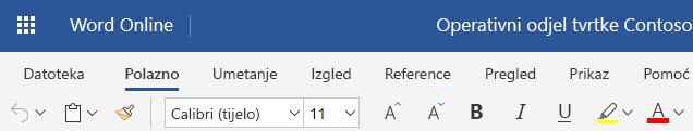Pojednostavnjeni vrpce u programu Word Online