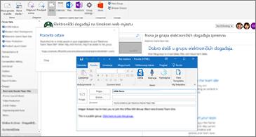 Dijaloški okvir Pozivanje ostalih u pozadini i poruka e-pošte za pozivanje u prvom planu