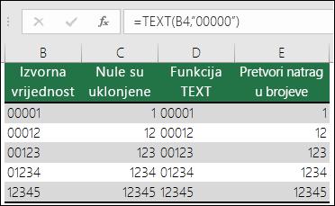 """Primjeri korištenja funkcije TEXT radi oblikovanja vodećih nula.  =TEXT(A2;""""00000"""")"""