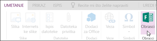 Mogućnost Umetanje obrazaca u web-aplikaciji OneNote Online