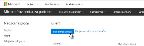 U Microsoftovu centru za partnere dodajte novog korisnika.