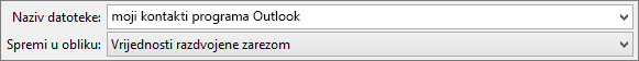 Spremanje kontakta adresar u obliku .csv datoteke