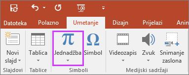 Prikazuje gumb za umetanje jednadžbe na vrpci u programu PowerPoint