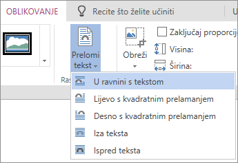 Slika oblikovanja - prelamanje teksta padajući izbornik