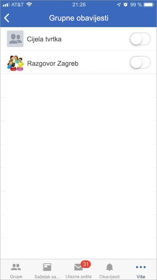 iOS stranice servisa Yammer za odabir grupe da biste primali obavijesti