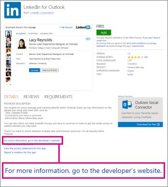 Veza na web-mjesto proizvođača aplikacije