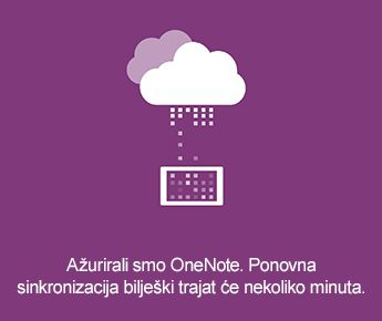 Zaslon za sinkronizaciju u programu OneNote za Android