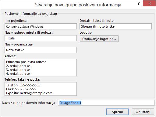 Snimka zaslona na kojoj se prikazuje dijaloški okvir Stvaranje nove grupe poslovnih informacija.