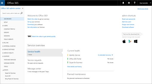 Primjer izgleda centra za administratore sustava Office 365 kad imate tarifu za Skype za tvrtke online.
