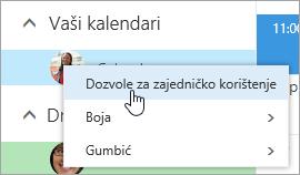 Snimka zaslona kontekstnog izbornika za vaš kalendar s odabranim dozvolama za zajedničko korištenje.
