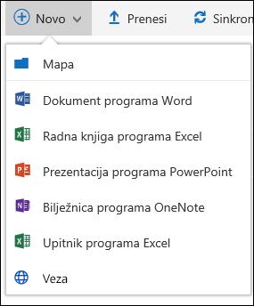 Stvaranje nove datoteke u biblioteci dokumenata u sustavu Office 365