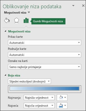 Mogućnosti nizova okna zadatka objekta oblika grafikona s kartom programa Excel
