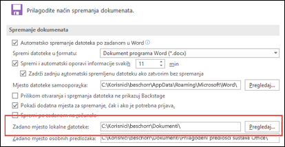 Mogućnosti za spremanje u programu Word pri čemu je prikazana zadana postavka radne mape
