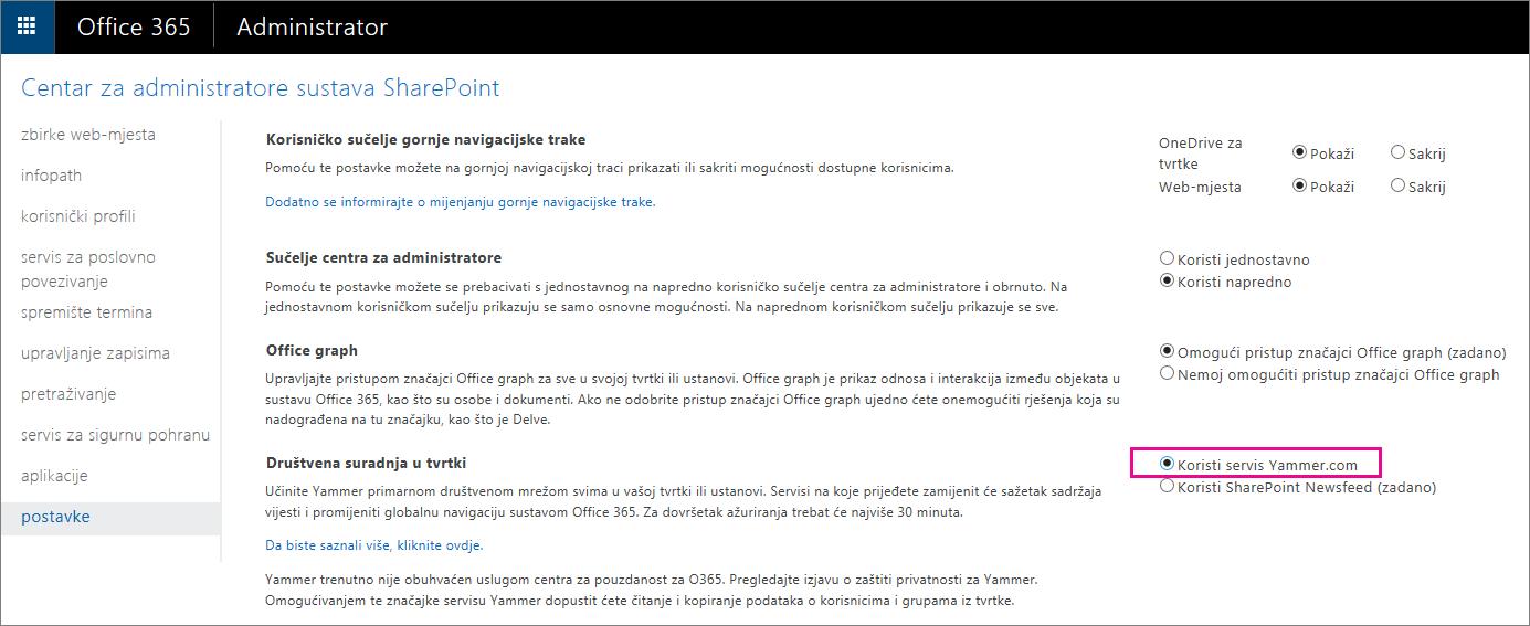 Centar za administratore sustava SharePoint s prikazom postavke servisa za korisnike web-mjesta Yammer.com