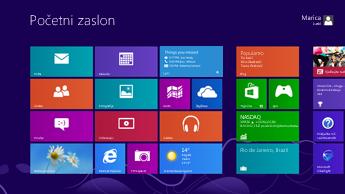 Snimka početnog zaslona sustava Windows s prikazanim ažuriranjima statusa na istaknutoj pločici programa Lync