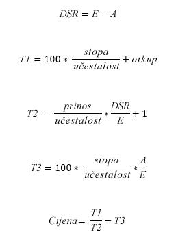 Formula CIJENA kada je N <= 1