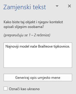 Okno Word Win32 zamjenski tekst za slike