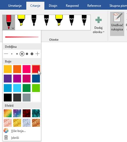 Prikazuje karticu Crtanje u programu Word 2016 s istaknutim odjeljkom Olovke.