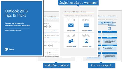 Naslovnica eKnjige Savjeti i upute za Outlook 2016; unutarnje stranice prikazuju neke savjete