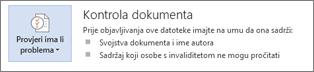 Provjera dokumenta u programu Word 2013