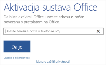 Pokazuje prozor Aktiviranje sustava Office