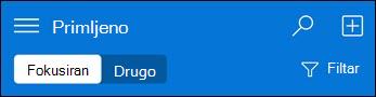 Navigacija pri vrhu za mini web-aplikaciju Outlook Web App