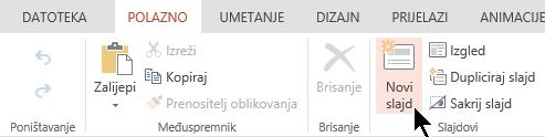 Gumb novi slajd na kartici Polazno ili na vrpci
