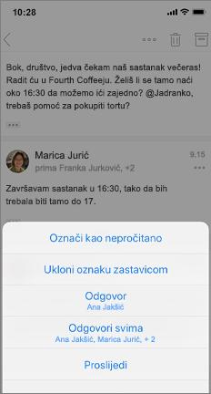 Nit e-pošte s oznakom Obilježavanje kao nepročitane, Nezastavice i druge mogućnosti