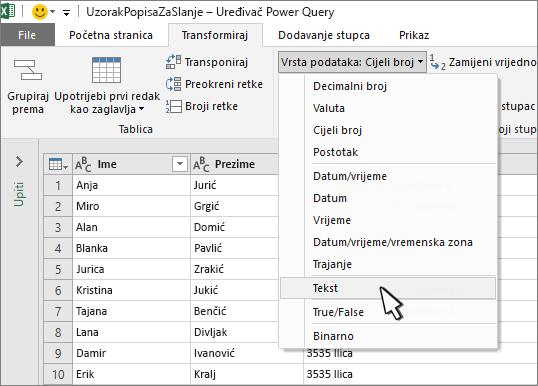 Prozor dodatka Power Query s odabranim tekstom