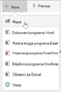 Novi izbornik na kojem je prikazana mogućnost nove mape