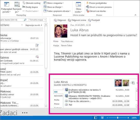 Outlook Social Connector nakon proširivanja