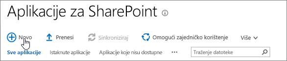 Katalog aplikacija SPO sustava SharePoint s istaknutim gumbom za nove