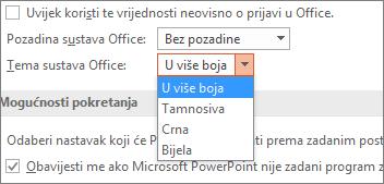 Prikazuje mogućnosti tema sustava Office u programu PowerPoint 2016