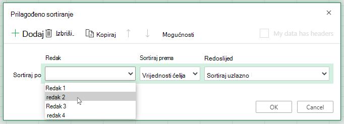 Padajući popis redaka u dijaloškom okviru prilagođeno sortiranje otvoren je prilikom odabira za sortiranje slijeva na desno