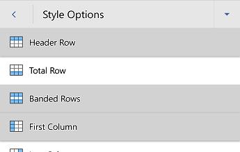 Izbornik Mogućnosti stila tablice programa Word za Android