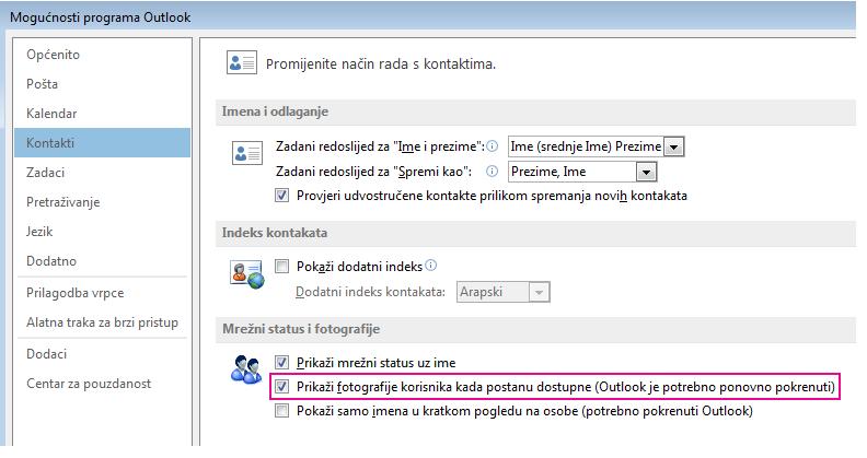 Snimka prozora Mogućnosti programa Outlook s istaknutim potvrdnim okvirom Omogući slike