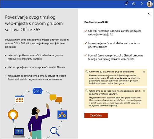 Na ovoj se slici prikazuje prvom zaslonu čarobnjaka za stvaranje novog sustava Office 365.