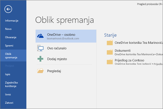 Spremi kao uz zadanu stavku OneDrive