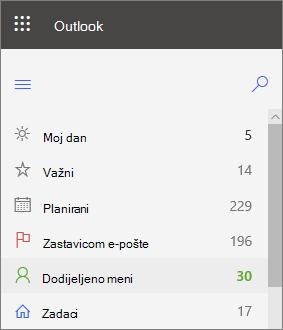 Snimka zaslona s lijevom navigacijom za zadatke za Outlook za web koja se prikazuje dodijeljeno odmah nakon poruke e-pošte označena zastavicom