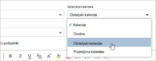 Snimka zaslona Spremi na padajućem izborniku kalendara