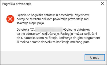 To je poruka o pogrešci koja će se prikazati ako .csv datoteka sadrži loše oblikovane podatke.