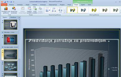 Kartica Alati grafikona prikazuje se kada kliknete grafikon.